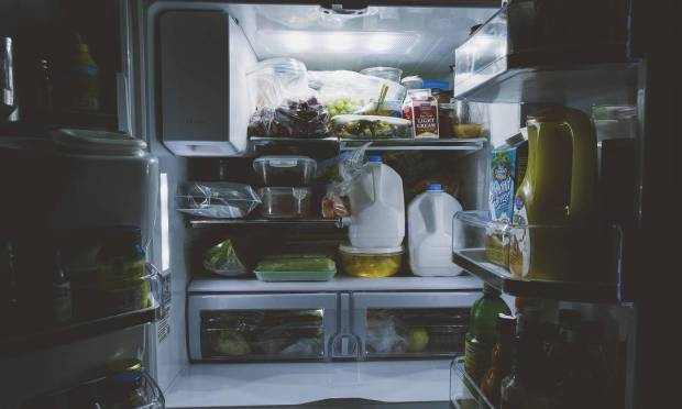 When the door is open for a long time, the motor will run longer, using more power.  It is also important to keep the refrigerator door gasket in good condition.  When traveling, one option is to empty and unplug the refrigerator.  Photo: Pixabay