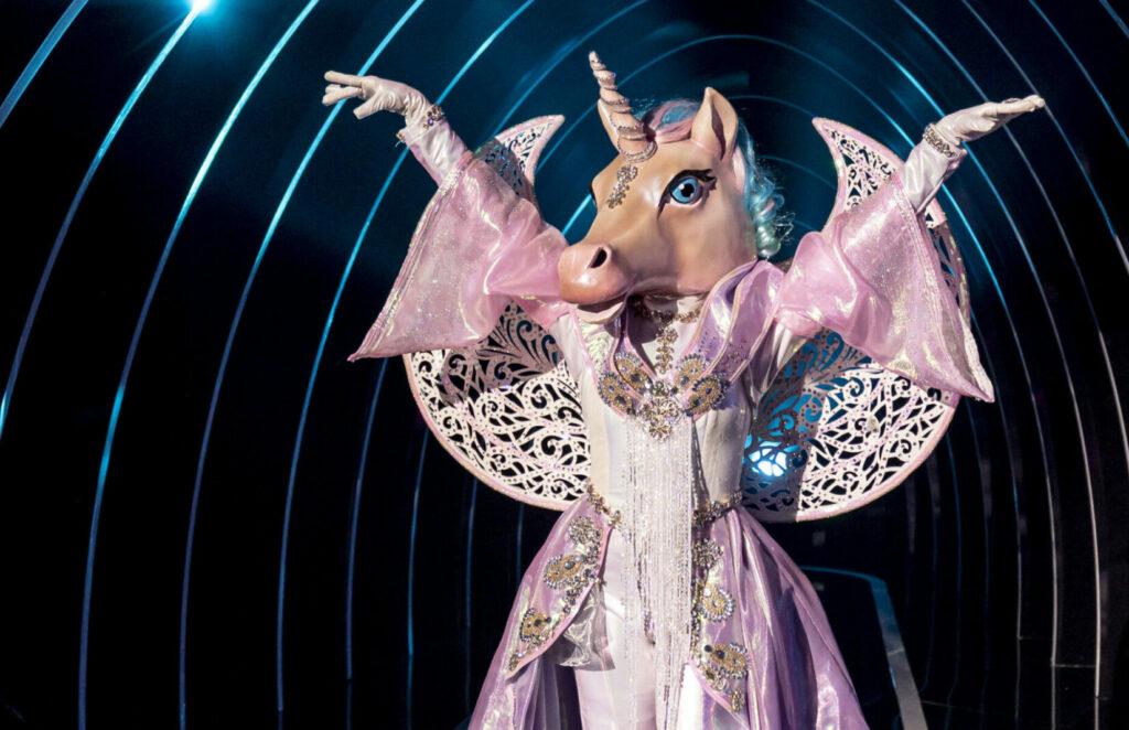 Priscilla Alcantara dressed as a unicorn in The Masked Singer Brazil.  (Courtesy/TV Globo)