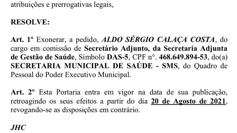 Maceió's health assistant has been fired after a suspected backlog of jobs and shifts in AL . government hospitals