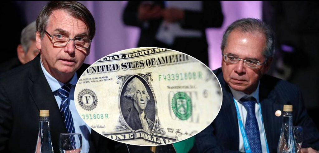 Jair Bolsonaro, Paulo Guedes e dólar