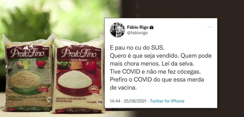 """The son of the owner of """"Arroz Prato Fino"""" attacks the vaccine and health system: """"SUS's stick in c*"""""""