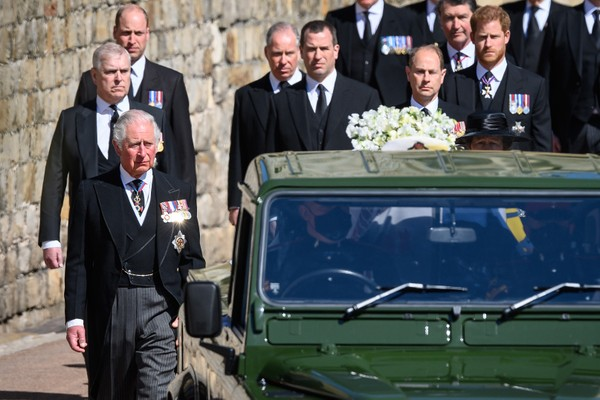 Princes Charles, William and Harry at Prince Philip's funeral (Image: Getty Images)