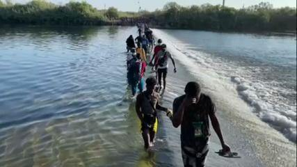 Thousands of Haitians cross the border between Mexico and Texas in the United States