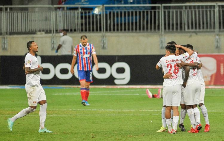 RB Bragantino players celebrate a goal against Bahia - Johnny Pinho / Agave - Johnny Pinho / Agave
