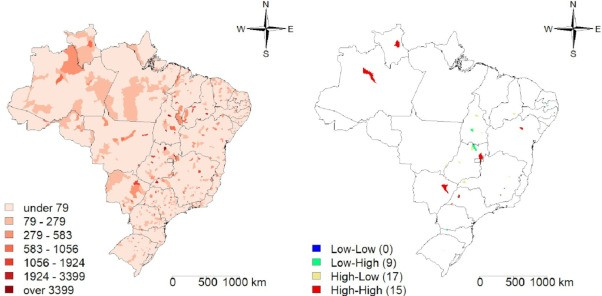 The distribution of maternal mortality due to Covid-19 in Brazil, marked in shades of red (Photo: Victor Santana Santos et.al)