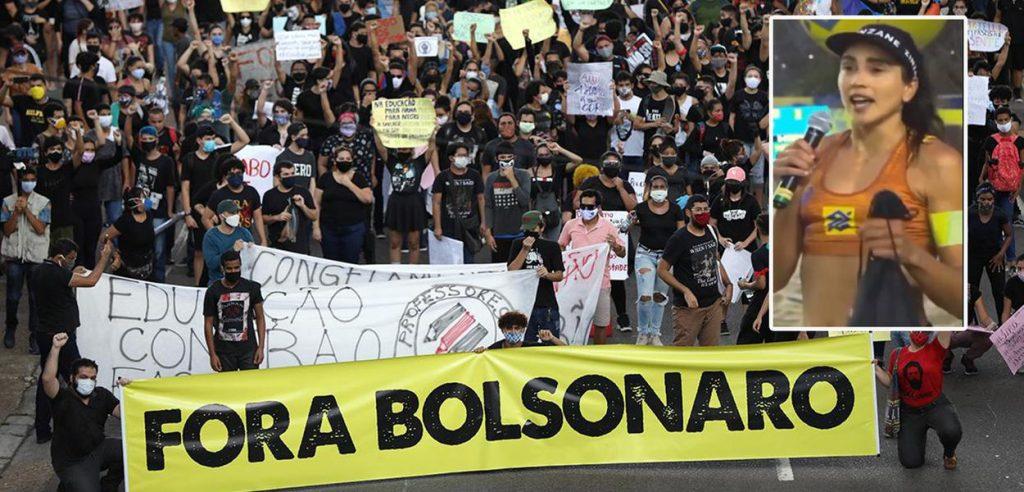 Ato pelo impeachment de Jair Bolsonaro e a jogadora de vôlei Carol Solberg