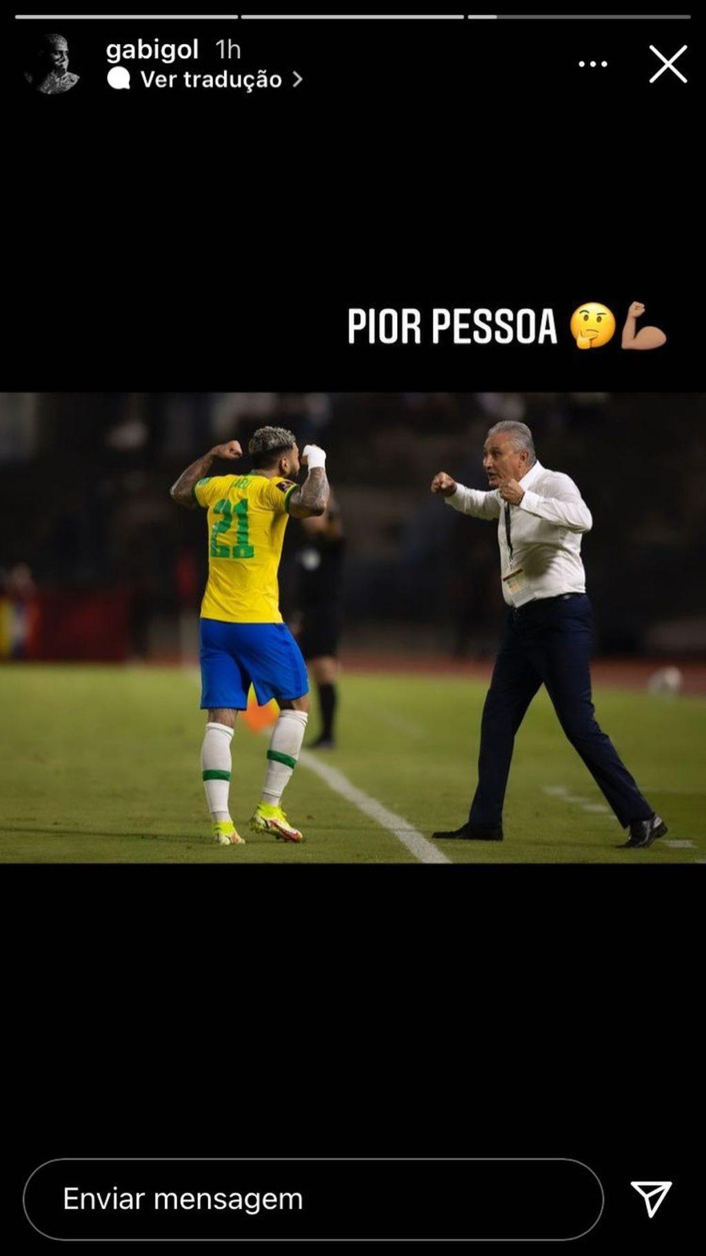 "With a typical celebration alongside Titi, Gabigol mocks Vampita's expression: ""Worst person"" |  Brazilian national team"